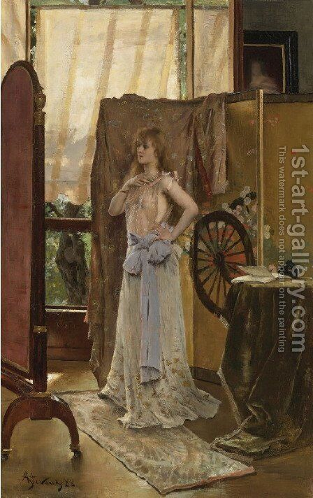 Study of the Role by Alfred Stevens - Reproduction Oil Painting