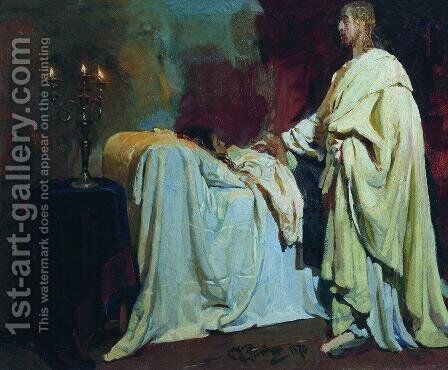 Raising of Jairus Daughter 2 by Ilya Efimovich Efimovich Repin - Reproduction Oil Painting