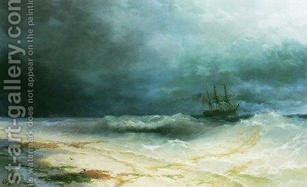 Ship in a storm 3 by Ivan Konstantinovich Aivazovsky - Reproduction Oil Painting