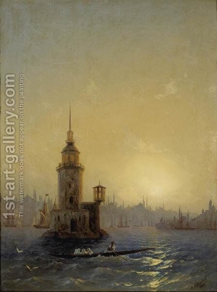 View of Leandrovsk tower in Constantinople by Ivan Konstantinovich Aivazovsky - Reproduction Oil Painting