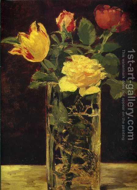 Rose and tulip by Edouard Manet - Reproduction Oil Painting
