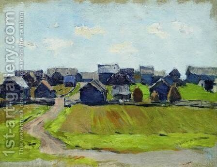 A village by Isaak Ilyich Levitan - Reproduction Oil Painting