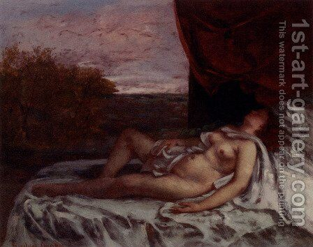 Sleeping Nude by Gustave Courbet - Reproduction Oil Painting