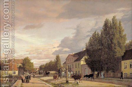 View of a Street in Osterbro outside Copenhagen. Morning Light by Christen Kobke - Reproduction Oil Painting