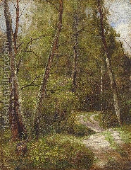 The path in the forest by Ivan Shishkin - Reproduction Oil Painting