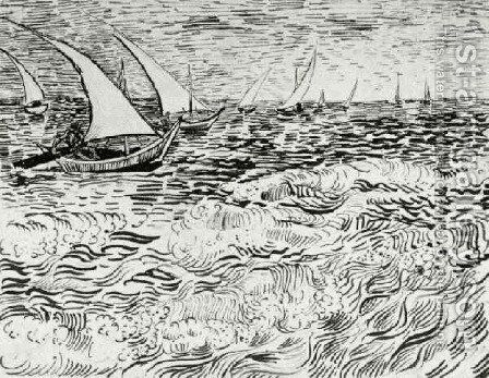A Fishing Boat at Sea 3 by Vincent Van Gogh - Reproduction Oil Painting