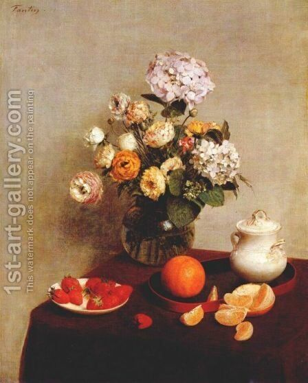Still Life Vase Of Hydrangeas And Ranunculus by Ignace Henri Jean Fantin-Latour - Reproduction Oil Painting