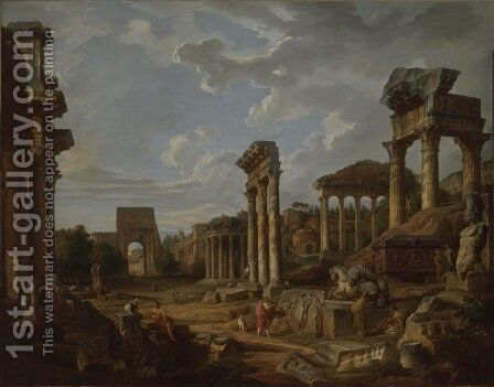 A Capriccio of the Roman Forum by Giovanni Paolo Panini - Reproduction Oil Painting
