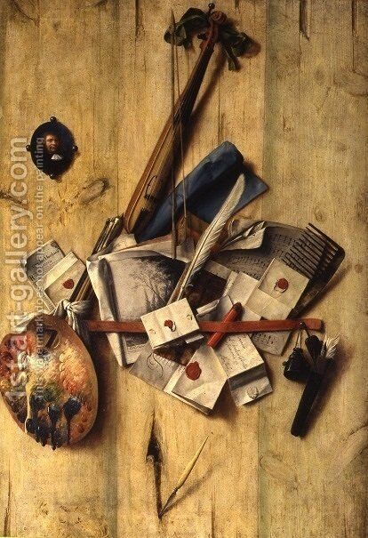 Trompe l'oeil with violin, painter's implements and self-portrait by Cornelis Norbertus Gysbrechts - Reproduction Oil Painting