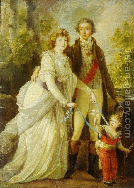 Count Nikolai Tolstoy with his wife Anna Ivanovna and their son Alexander by Angelica Kauffmann - Reproduction Oil Painting