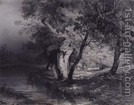 Forest near the lake, illuminated by the sun by Alexei Kondratyevich Savrasov - Reproduction Oil Painting