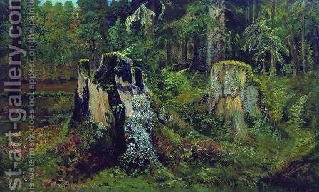 Landscape with stump by Ivan Shishkin - Reproduction Oil Painting