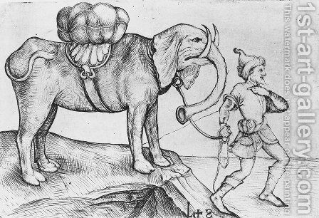 The elephant and his trainer by Martin Schongauer - Reproduction Oil Painting