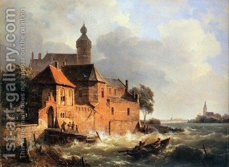 Men in boat at choppy sea by Cornelis Springer - Reproduction Oil Painting