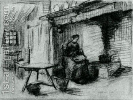 Interior with Peasant Woman Sitting near the Fireplace 2 by Vincent Van Gogh - Reproduction Oil Painting