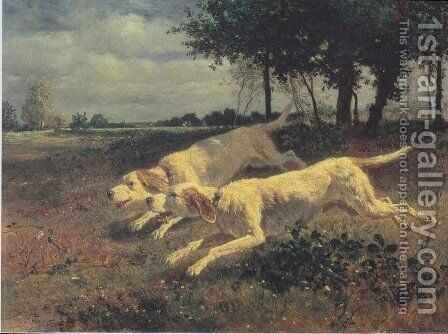 Running dogs by Constant Troyon - Reproduction Oil Painting