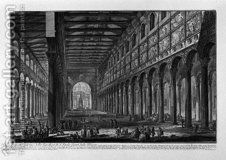 View of the Basilica of St. Paul Outside the Walls, built by Constantine the Great by Giovanni Battista Piranesi - Reproduction Oil Painting