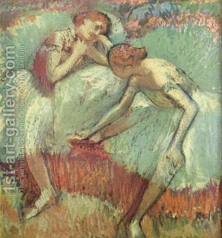 Two Dancers at Rest (Dancers in Blue) by Edgar Degas - Reproduction Oil Painting