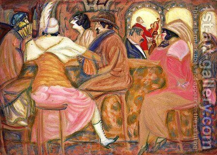In a Paris Cafe by Boris Dmitrievich Grigoriev - Reproduction Oil Painting