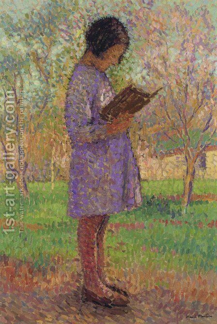 Young Girl Reading by Henri Martin - Reproduction Oil Painting