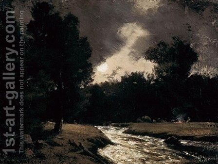 Rushing Stream by Moonlight by Homer Watson - Reproduction Oil Painting