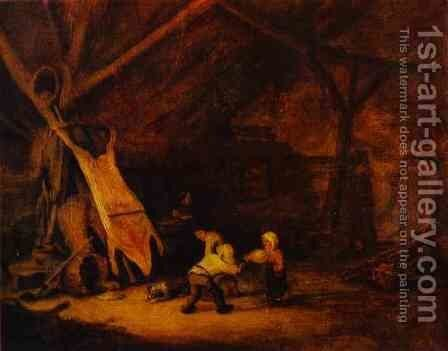 Children Playing in a Barn by Adriaen Jansz. Van Ostade - Reproduction Oil Painting