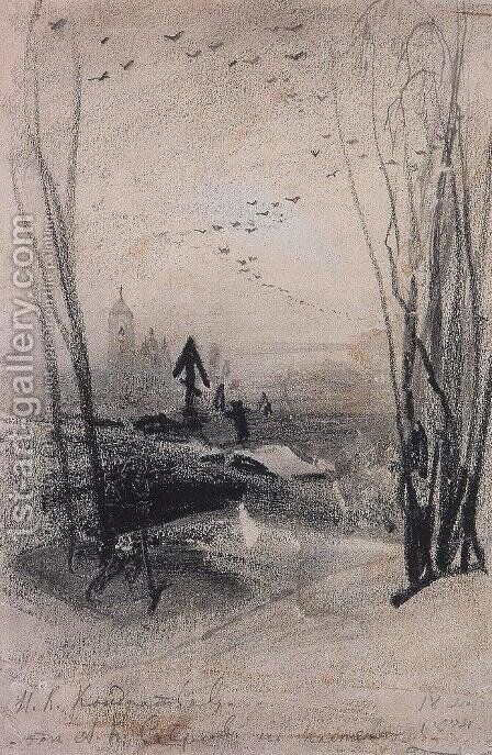 At the cemetery by Alexei Kondratyevich Savrasov - Reproduction Oil Painting