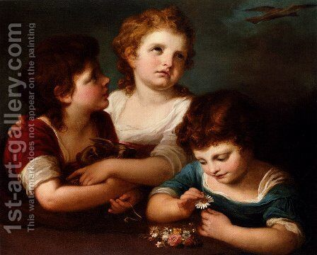 Children with a bird's nest and flowers 2 by Angelica Kauffmann - Reproduction Oil Painting