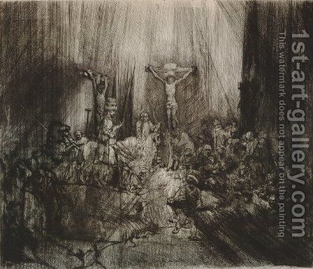 Christ crucified between the two thieves (Three crosses) by Rembrandt - Reproduction Oil Painting