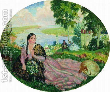 The girl on the Volga by Boris Kustodiev - Reproduction Oil Painting
