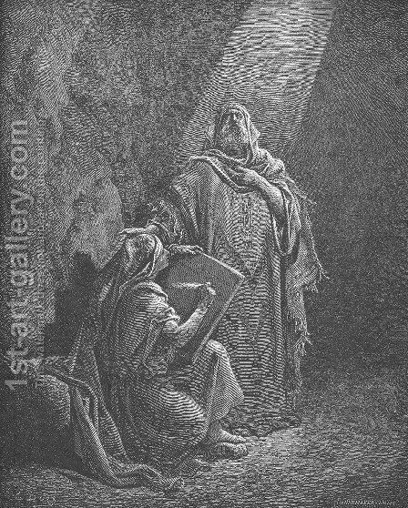 Baruch Writes Jeremiah's Prophecies by Gustave Dore - Reproduction Oil Painting