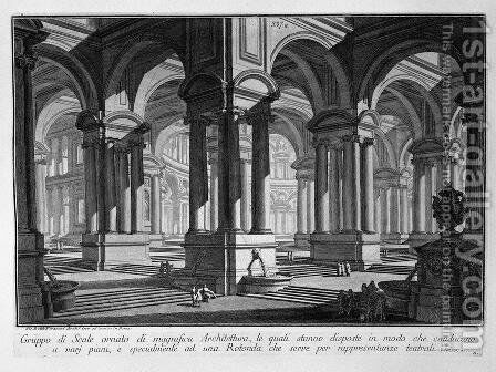 Set of stairs decorated with magnificent architecture by Giovanni Battista Piranesi - Reproduction Oil Painting