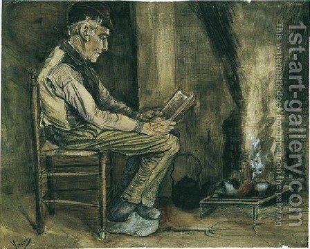 Farmer sitting at the fireside and reading by Vincent Van Gogh - Reproduction Oil Painting