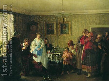 Congratulation of betrothed in landlord's house by Grigori Grigorievich Mjasoedov - Reproduction Oil Painting