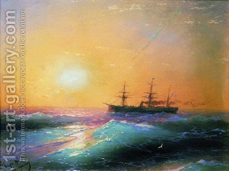 Sunset at Sea 6 by Ivan Konstantinovich Aivazovsky - Reproduction Oil Painting
