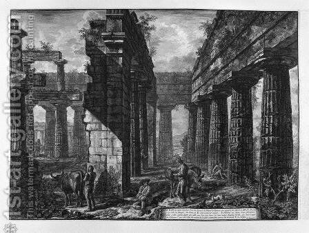 Interior of pronaos of the Temple itself, which looks toward the ground by Giovanni Battista Piranesi - Reproduction Oil Painting