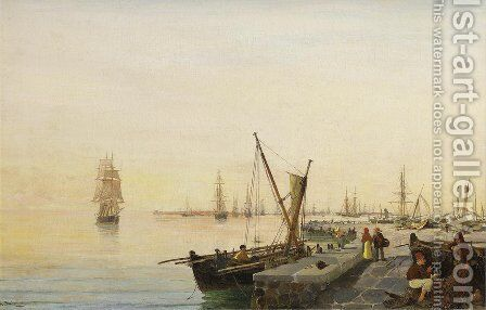 A busy harbour by Constantinos Volanakis - Reproduction Oil Painting
