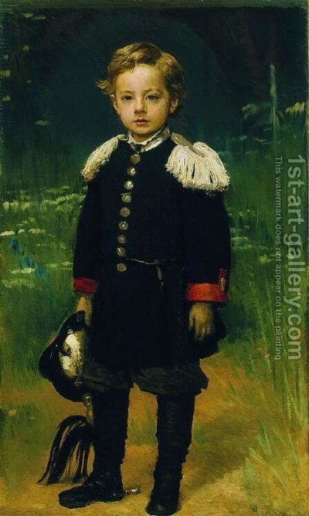 Portrait of Sergei Kramskoy, son of the artist by Ivan Nikolaevich Kramskoy - Reproduction Oil Painting