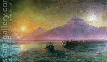 Dejection of Noah from mountain Ararat 3 by Ivan Konstantinovich Aivazovsky - Reproduction Oil Painting