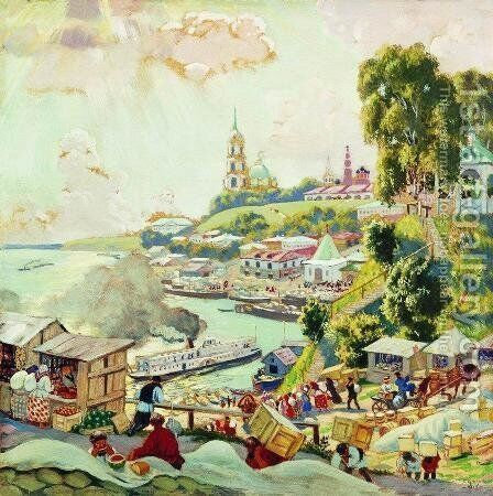 On the Volga 3 by Boris Kustodiev - Reproduction Oil Painting