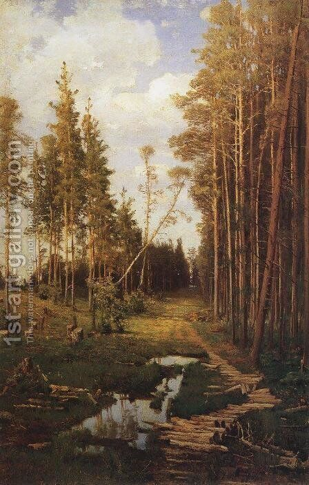 Glade in a pine forest by Alexei Kondratyevich Savrasov - Reproduction Oil Painting