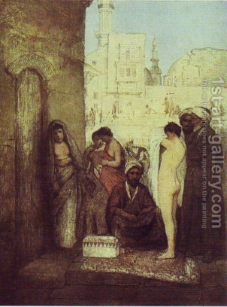 Cairo Slave Market by Maurycy Gottlieb - Reproduction Oil Painting