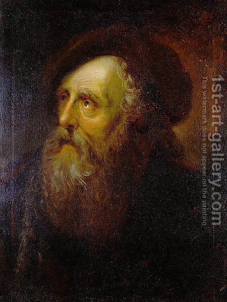 Portrait of an Old Jew by Antoine Pesne - Reproduction Oil Painting