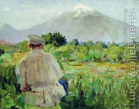 At the sketches (At the foothills) by Boris Kustodiev - Reproduction Oil Painting