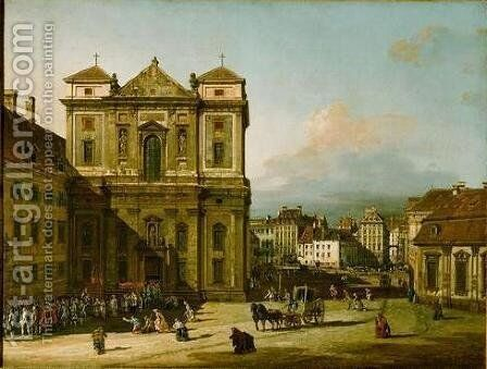 The Freyung by Bernardo Bellotto (Canaletto) - Reproduction Oil Painting