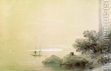 Sea against a rocky shore by Ivan Konstantinovich Aivazovsky - Reproduction Oil Painting