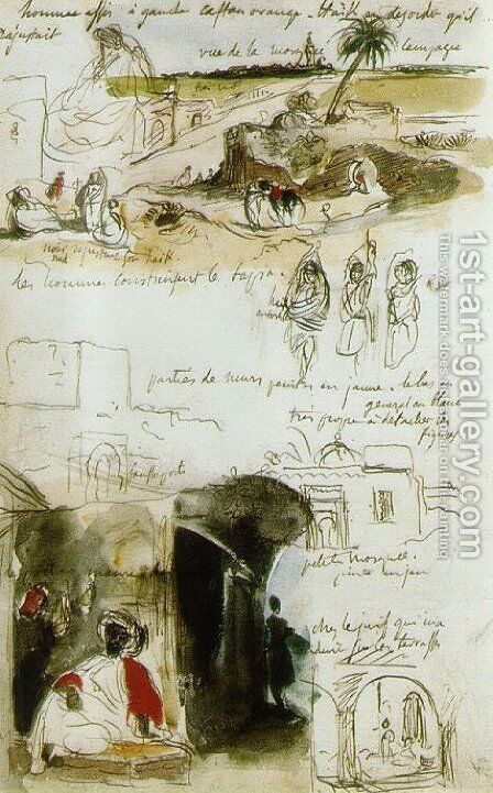Page from the Moroccan Notebook by Eugene Delacroix - Reproduction Oil Painting