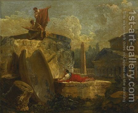 Draughtsmen in a Landscape with Antique Ruins by Hubert Robert - Reproduction Oil Painting