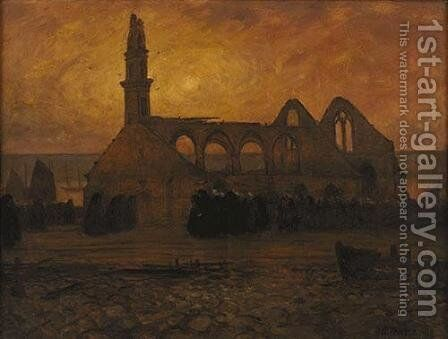 Lamentation of women Camaret around the chapel of burnt-Roch' Amadour by Charles Cottet - Reproduction Oil Painting