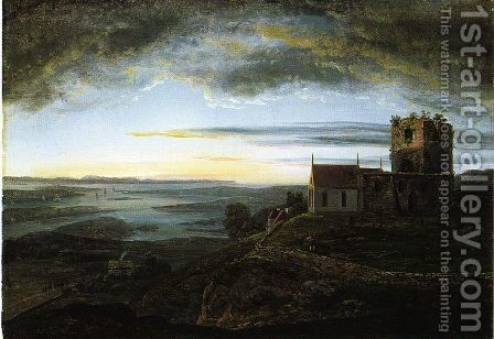 Avaldsnes church by Johan Christian Clausen Dahl - Reproduction Oil Painting